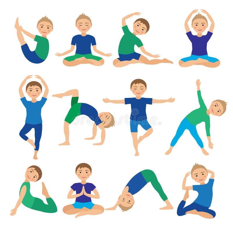 йога-етей-пре-став-яет-и-юстрацию-вектора-ребенок-е-ая-тренировки-74728095